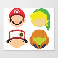 nintendo Canvas Prints featuring Nintendo Greats by MoleFole