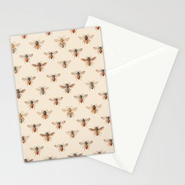 Vintage Bee Illustration Pattern Stationery Cards