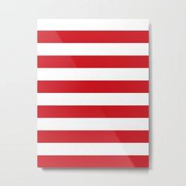 Horizontal Stripes - White and Fire Engine Red Metal Print