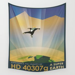 A Super Earth Retro Space Poster Wall Tapestry