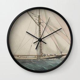 Vintage Cutter Sailing Yacht Illustration (1887) Wall Clock