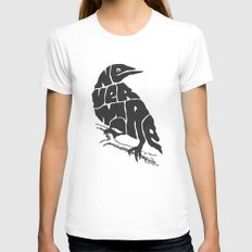 Quoth the raven White LARGE Womens Fitted Tee