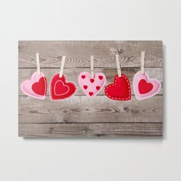 II - Clothesline with Valentine's Day hearts decorations on a rustic background Metal Print