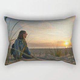 Beautiful sunset on the beach Rectangular Pillow