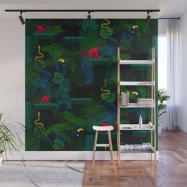 Animals in the jungle on the ruins Wall Mural