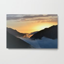 Sunset above the clouds. Metal Print