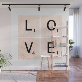 LOVE Scrabble Tiles on Custom Vector Wood Background Wall Mural