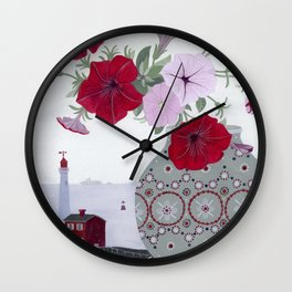 Petunias and Seascape Wall Clock