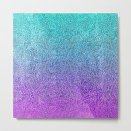 Tropical Twilight Glitter Gradient Metal Print