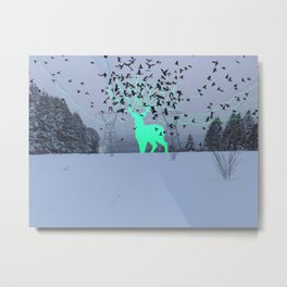 Electric Spirit Deer Metal Print