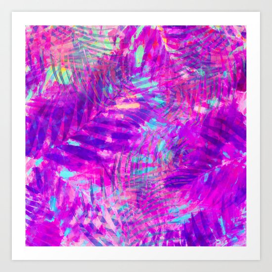 Colorful abstract palm leaves 3 Art Print
