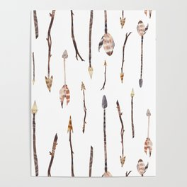 Boho Arrows with Feathers Poster