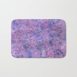 Purple and faux silver swirls doodles Bath Mat