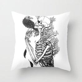SkullRose Throw Pillow