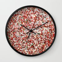 sparkles Wall Clocks featuring Sparkles by Sharon Johnstone