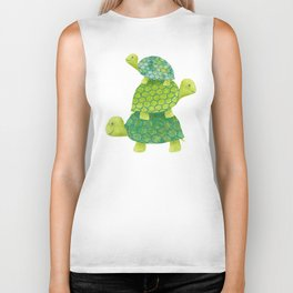 Turtle Stack Family in Teal and Lime Green Biker Tank