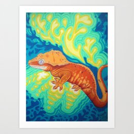 Red Crested Gecko Art Print