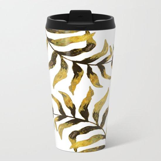 Gold Exotic Palm Leaves - Tropical Design Metal Travel Mug