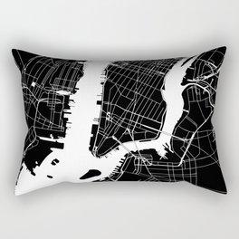 New York City Black On White Rectangular Pillow