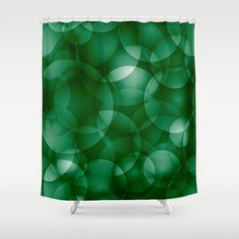Dark intersecting green translucent circles in bright colors with a grassy glow. Shower Curtain