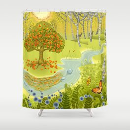 Magic Green Forest Shower Curtain
