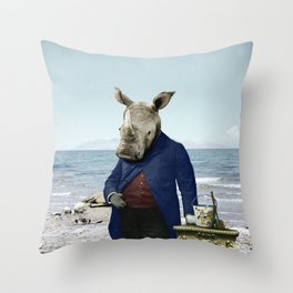 Mr. Rhino's Day at the Beach Throw Pillow