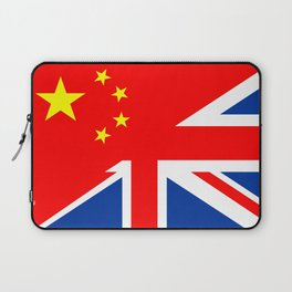 english chinese country half flag great britain united kingdom china Laptop Sleeve
