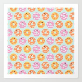 Kawaii Party Rings Biscuits Art Print