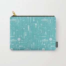 Abstract Workshop tools turquoise Carry-All Pouch