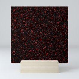 dark red music notes Mini Art Print