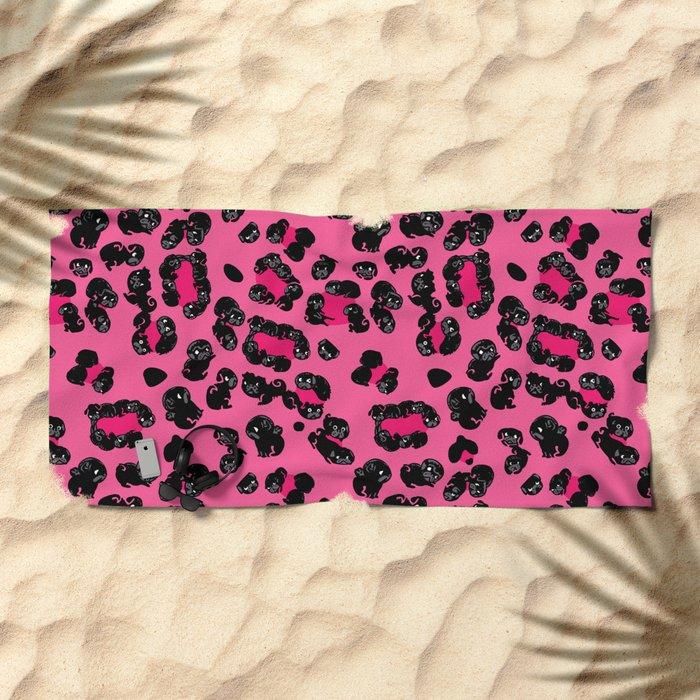 Leopard Pugs in Pink Beach Towel