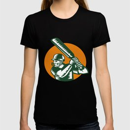 Cricket Player Batsman Batting Circle Woodcut T-shirt