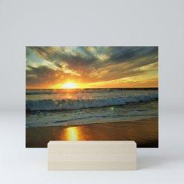 Wet beach Wet Lens Sun Orb by Reay of Light Mini Art Print