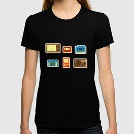 80s Retro Household Electronics - Video Games Television Radio Cassette Tape Walkman Pattern T-shirt