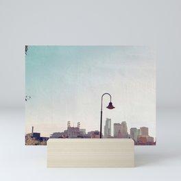Minneapolis Minnesota Skyline at the Stone Arch Bridge Mini Art Print