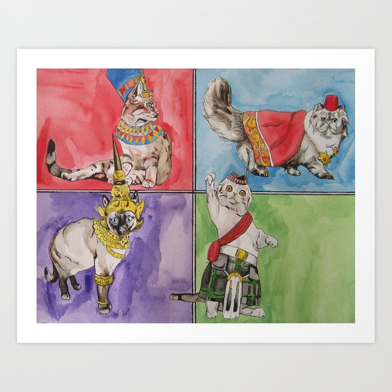 Cats from around the world art print by rachel hoffman for Art from around the world