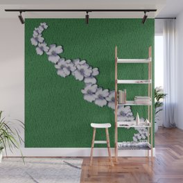 Cherry-blossoms Branch Decorative On A Field Of Fern Wall Mural