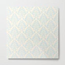 Vintage chic blue ivory floral damask pattern Metal Print