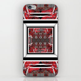 NUMBER 221 RED BLACK GRAY WHITE PATTERN iPhone Skin