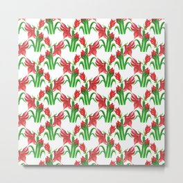 Christmas Amaryllis Flower Watercolor Decor Metal Print