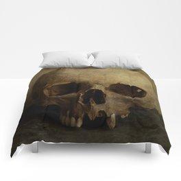 Male skull in retro style Comforters