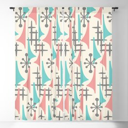 Mid Century Modern Atomic Wing Composition 92 turquoise, Dusty Rose and Gray Blackout Curtain
