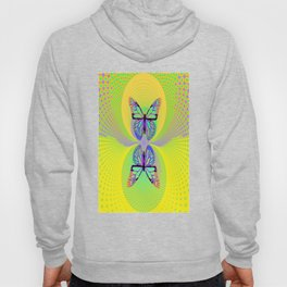 Butterfly Suns Abstract Yellow-lime-purple Modern Optical Art Patterns Hoody