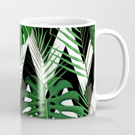 Geometrical green black white tropical monster leaves Coffee Mug