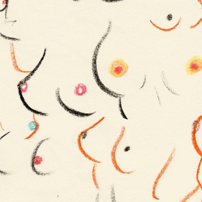 Breasts in Cream Leggings