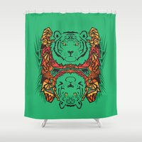tigers Shower Curtains featuring Tigers by Ornaart