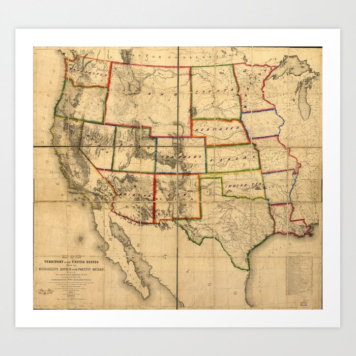 Western United States Territory Map (1858) Art Print by thearts