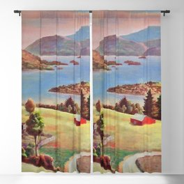 Lake George, Adirondack Mountains, New York pastoral landscape painting by Judson Smith Blackout Curtain