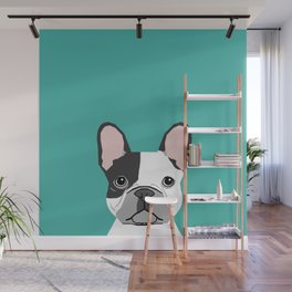 French Bulldog black and white peeking dog head funny dog gifts frenchies must haves Wall Mural