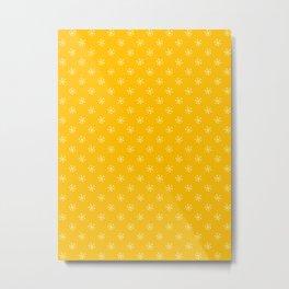 Cream Yellow on Amber Orange Snowflakes Metal Print